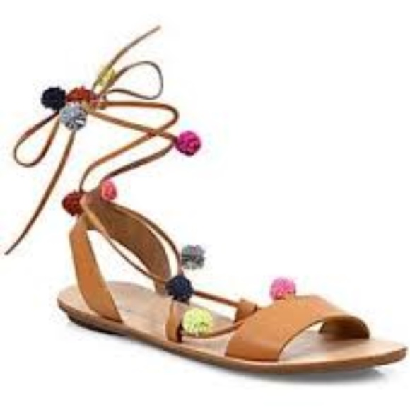 3e91057b19b7f Loeffler Randall Saskia Pom-Pom Lace Up Sandals NWT